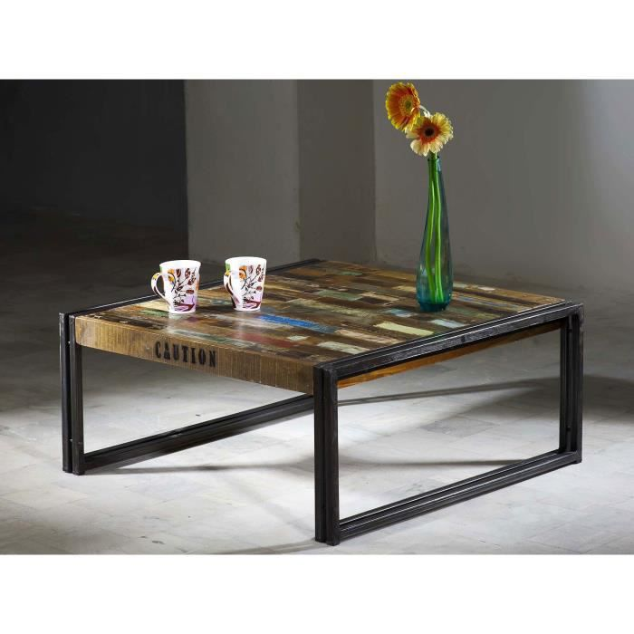table basse qu bec 80x80 en bois dur multicolore massivum achat vente meuble tv table basse. Black Bedroom Furniture Sets. Home Design Ideas