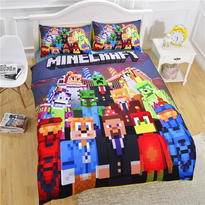 parure de lit enfant minecraft pour 1 personne 140cm 210cm en coton achat vente housse de. Black Bedroom Furniture Sets. Home Design Ideas