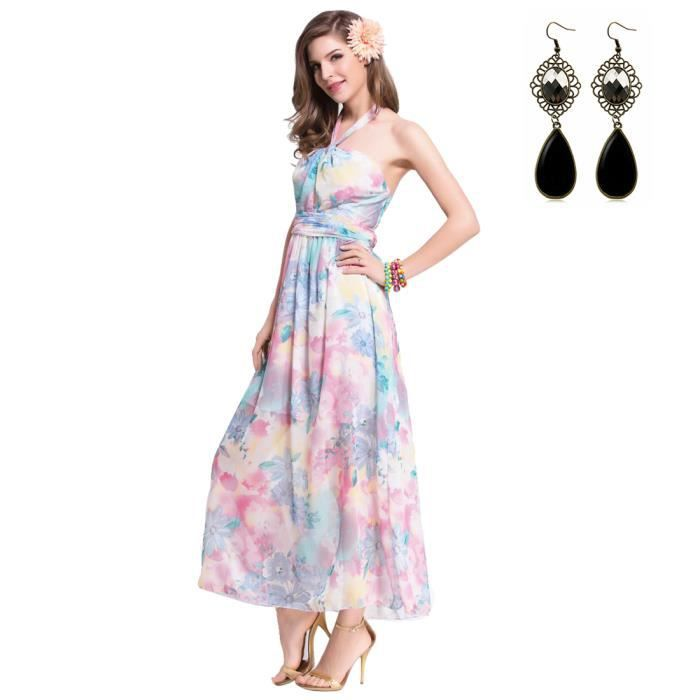 Femme plage t maxi longue robe floral boh mien robe rose for Maxi robe de plage mariage