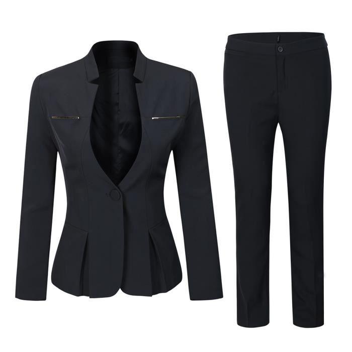 Veste slim Blazer Marque de Femme Pantalon costume Femme pieces 2 Femmes Costume Noir Pantalon 5RL4Ajq3