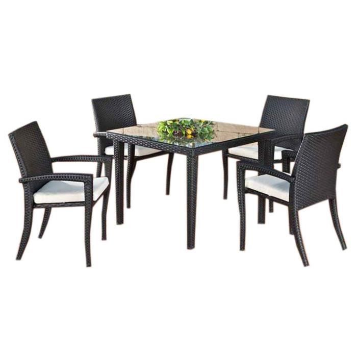 table manger de jardin avec 4 chaises en poly achat vente table a manger complet table. Black Bedroom Furniture Sets. Home Design Ideas