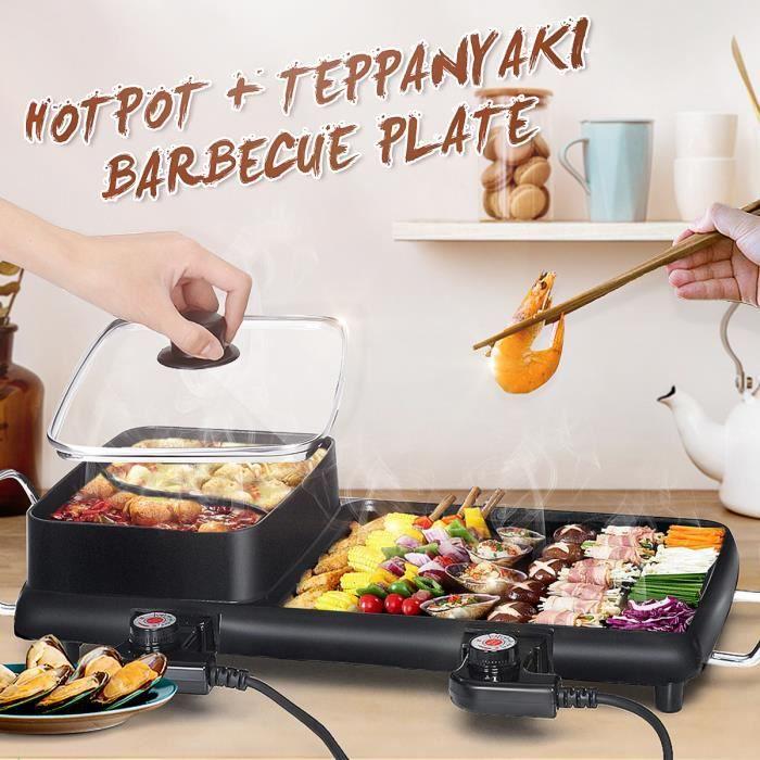 Tempsa 2 En 1 Poele Electrique Hot Pot Bbq Friture Cuire Grill