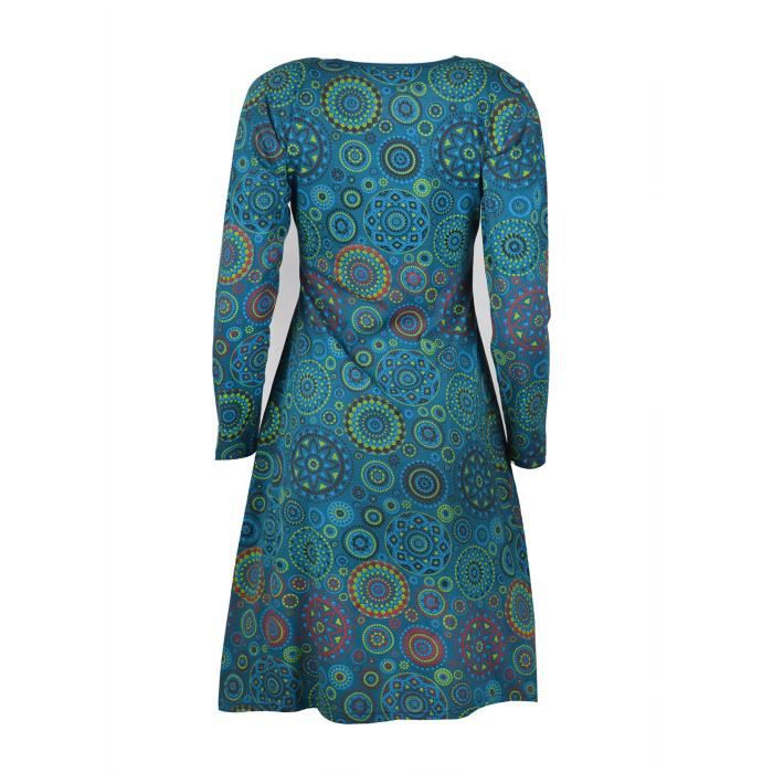 Womens Long Sleeve Dress With All Over Mandala Print Evening Dress 2ZS6EN Taille-34
