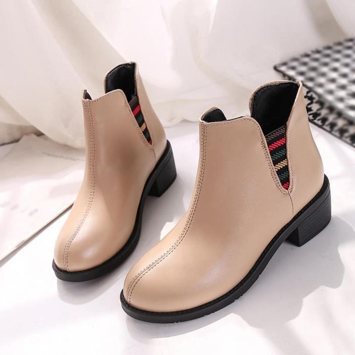 Bottes en cuir femmes talons bas Automne Hiver Martin Bottines Chaussures pour femmes @wll6770