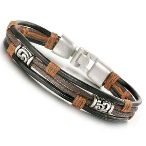 BRACELET - GOURMETTE Besteel Bracelet homme Alliage avec Leather Cuir c