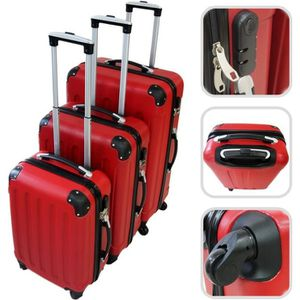 SET DE VALISES Set de 3 valises Trolley rouges - Valises rigides