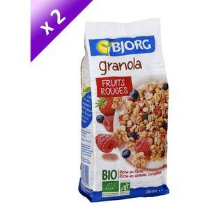 CÉRÉALES PETIT DEJ  Lot de 2 - BJORG Granola fruits rouge - 2 x 350g