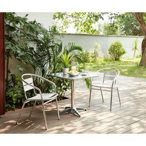 Ensemble table et chaise de jardin BASTIA Ensemble bistrot carrée en acier et MDF + 2