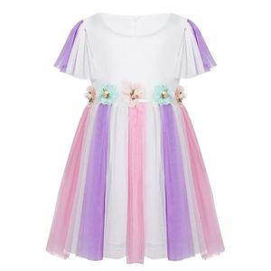 TUTU - JUSTAUCORPS Tutu Robe de Danse Bébé Fille Princesse Blanc Fleu