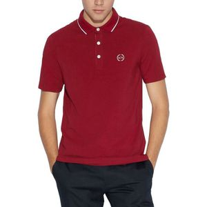 POLO Polo manches courtes jersey piping col  Bordeaux