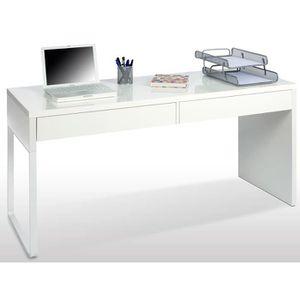 BUREAU  Bureau réversible en bois coloris blanc artic avec