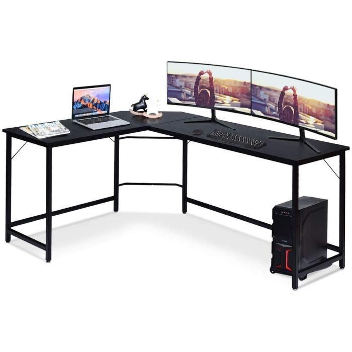 COSTWAY Bureau d'Angle Style Industriel 168 x 125 x 74CM Table Gaming en Bois avec 6 Pieds Réglables Métal Noir Support Séparé