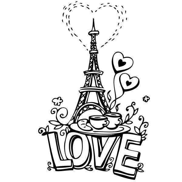 Sticker Paris Tour Eiffel de l'Amour Dessin (80x50 cm) NOIR AMOUR010