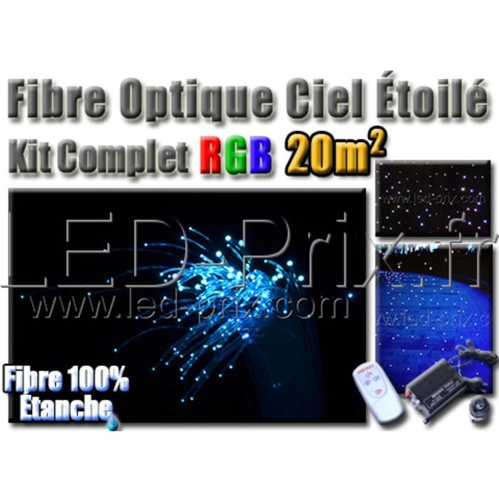Kit fibre optique ciel étoile plafonds/sols 20m2