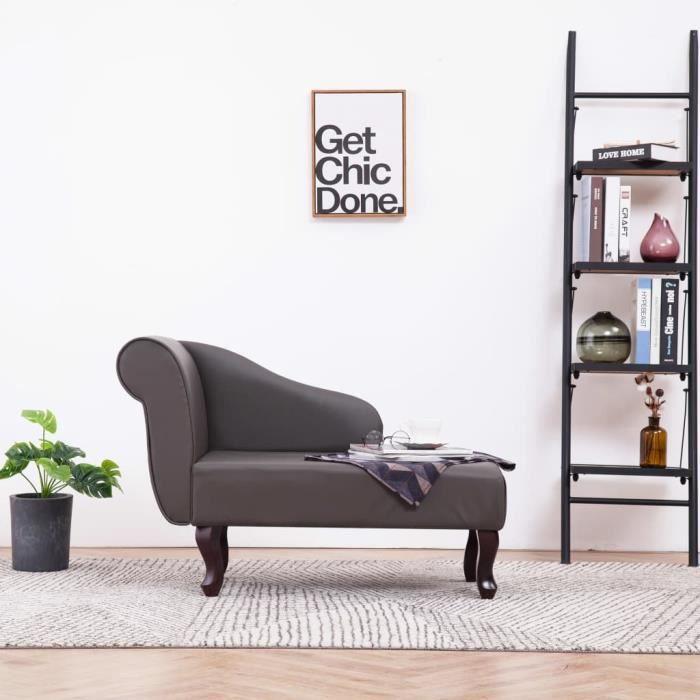 **4609Parfait Chaise longue Méridienne Scandinave & Confort - Chaise de Relaxation Fauteuil de massage Relax Massant Gris Similicuir