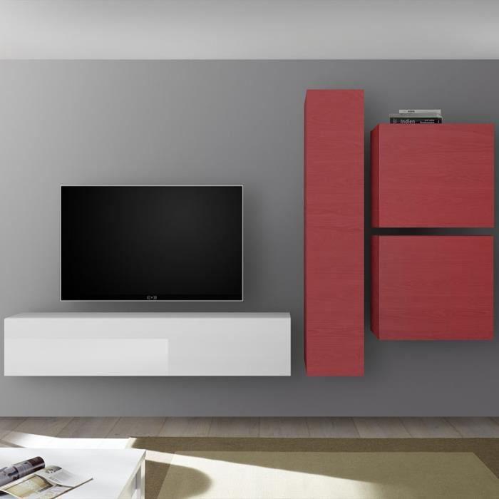 Meuble TV design mural rouge et blanc laqué PUNTA Rouge L 260 x P 30 x H 180
