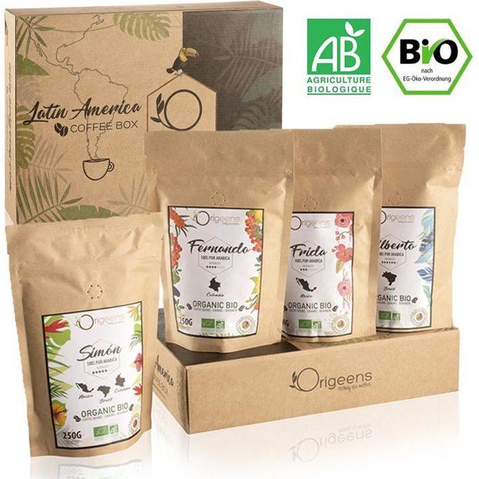 ☘️ CAFE GRAIN 1kg BIO - Café en Grain Arabica - Coffret café dégustation, Torréfaction Artisanale, 4x250g - Idée Cadeau