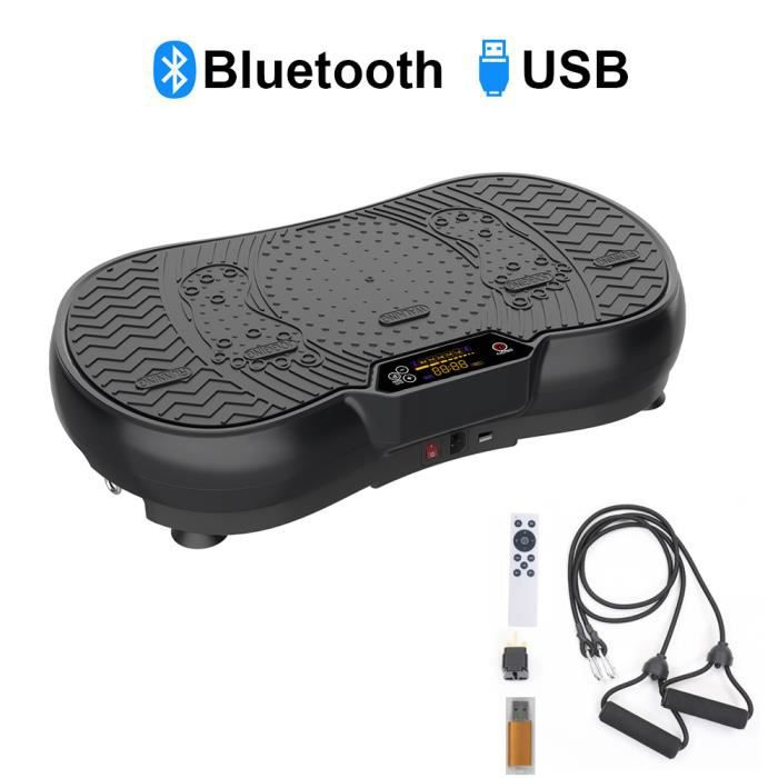 ISE Plateforme vibrante oscillante -5 programmes -LCD -Haut-parleurs Bluetooth,Pour Fitness Appareil d'Entraînement SY-328-BK