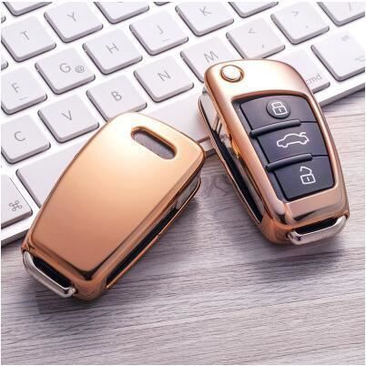 Auto Voiture Style Doux TPU Clé Pour Audi A1 A3 A4 A5 Q7 A6 C5 C6 A8 R8 Support Pour Voiture Coque Cou Or