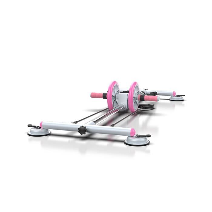 MOYOTEC Roue abdominale Entraîneur de Muscle Abdominal Multifonctionnel Avec Corde élastique Fitness et Musculation Maison Gym Rose