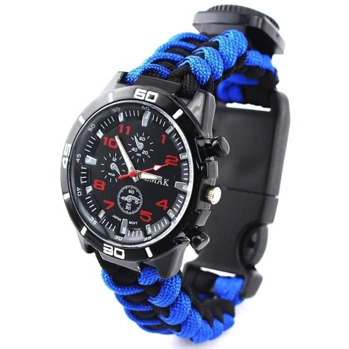 7-in-1 Kits de survie camping en plein air Parachute corde Bracelet montre avec thermomètre boussole - Bleu noir
