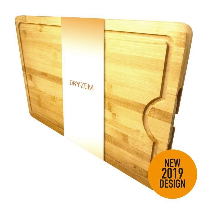 Dryzem Planche à découper en bois de bambou Extra grande planche à découper et à