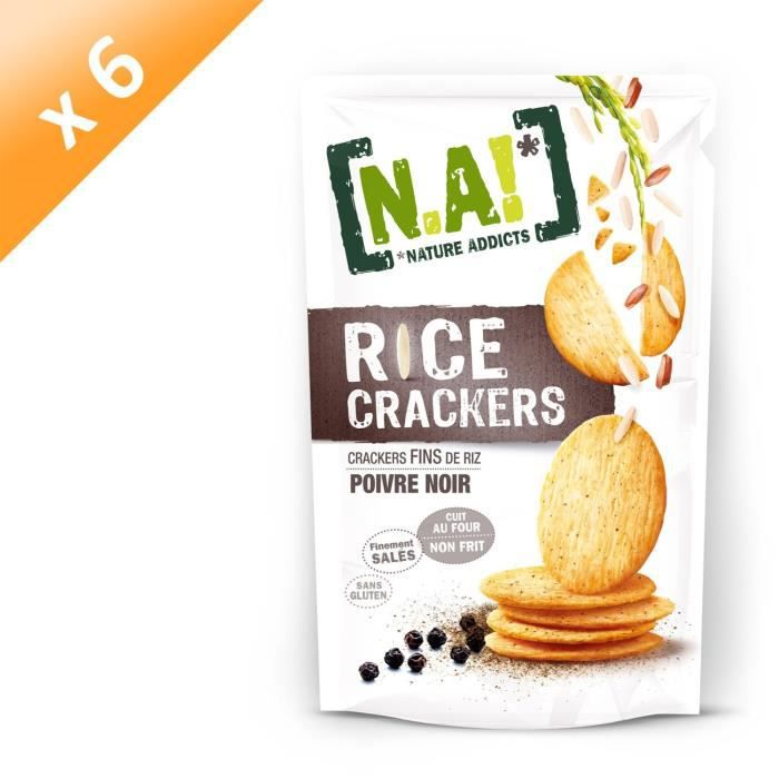 [LOT DE 6] N.A Rice Crackers Sachet de Poivre - 70 g