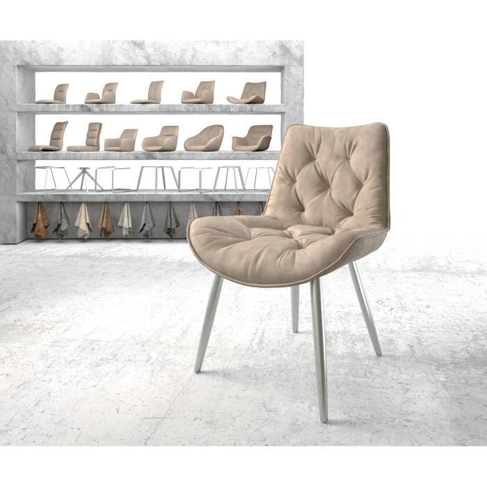 Chaise Taimi-Flex 4-pieds conique acier inoxydable vintage beige