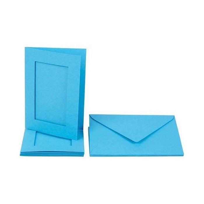 Lot 5 Cartes passe-partout rectangle à 3 volets, bleu, avec enveloppes, Format A6