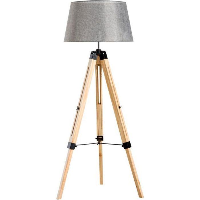 Lampadaire trépied hauteur réglable 65 x 65 x 99-143 cm lampe de sol 40 W bois style nordique gris neuf 15GY