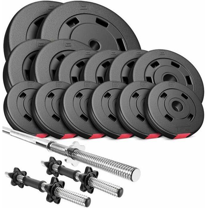 HS Hop-Sport Set PREMIUM de 58kg D (2x barre 45cm + 1x barre 167cm / 2x10kg+ 2x5kg + 4x2,5 + 6x1,25)