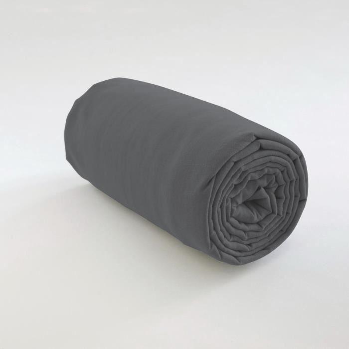 Drap housse uni Coton gris fonce 140 x 190 x 35 cm Les Ateliers du Linge 140 X 190 X 35 GRIS FONCE