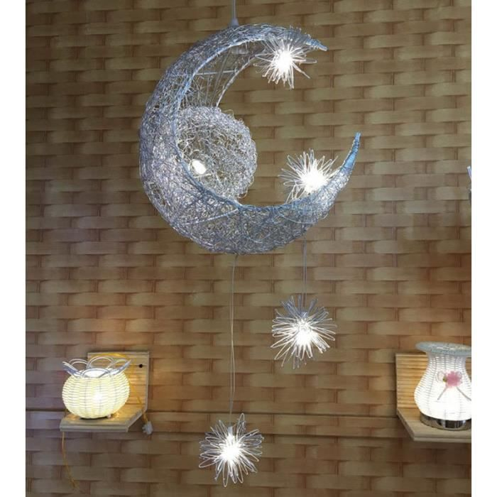 Lustre moderne en aluminium de lune suspension Salle d'étude lumière Plafonnier pour pour balcon restaurant Blanc froid