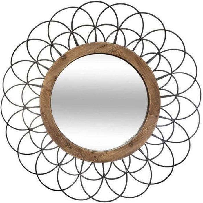 Miroir en métal - bois coloris Noir - D. 90,5 x Ep. 5 cm