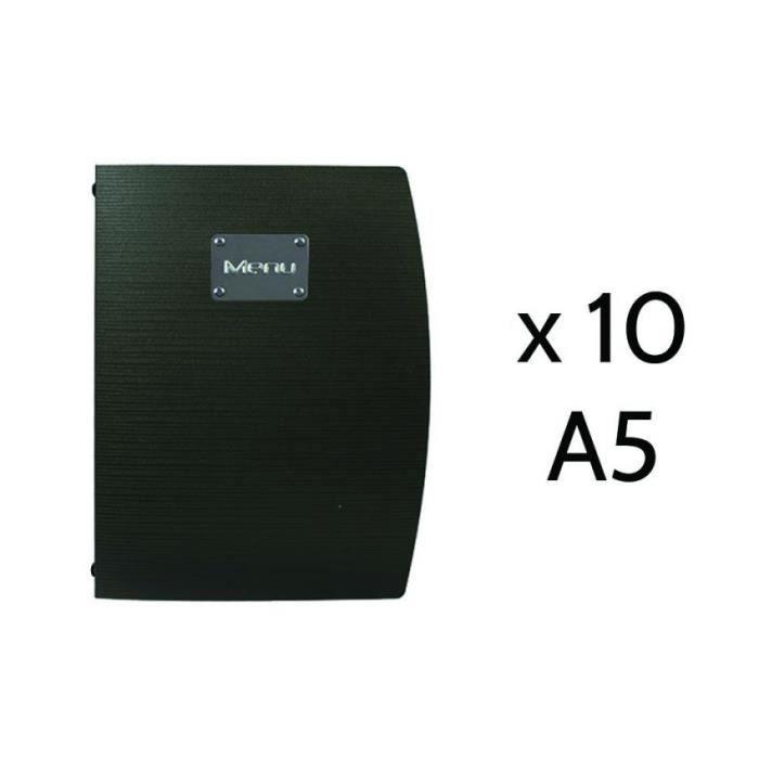 Lot de 10 protège menu Rio noir format A5 11 PVC