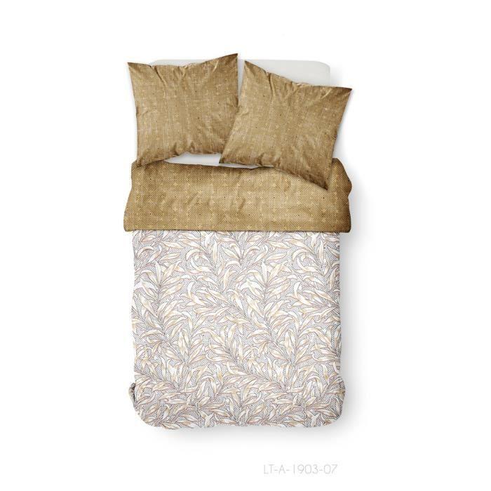 TODAY Parure de couette 100 % Coton 220x240cm SUNSHINE #3.58 - Beige et blanc