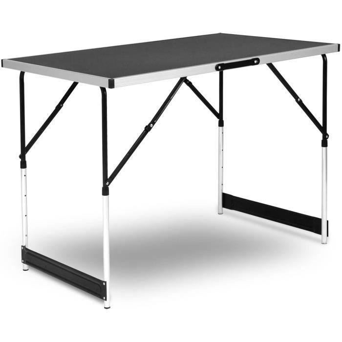 Table de Camping Pliante Table de Jardin Table de Travail Table de Balcon  Réglable en Hauteur en Aluminium Acier MDF,Noir