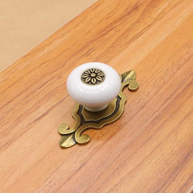 Poignée ancienne verte tiroirs armoire Vintage armoire en céramique boutons  tiroir blanc WTX60719482WH