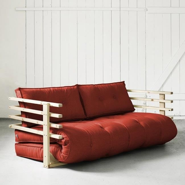 convertible funk 160 naturel futon rouge achat vente. Black Bedroom Furniture Sets. Home Design Ideas