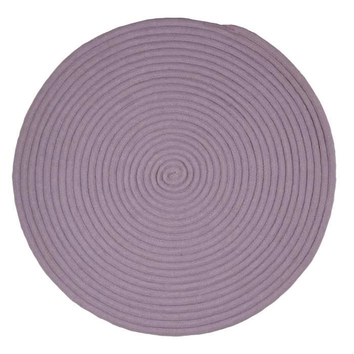 tam tam tapis rond 70 cm coton lilas achat vente tapis. Black Bedroom Furniture Sets. Home Design Ideas