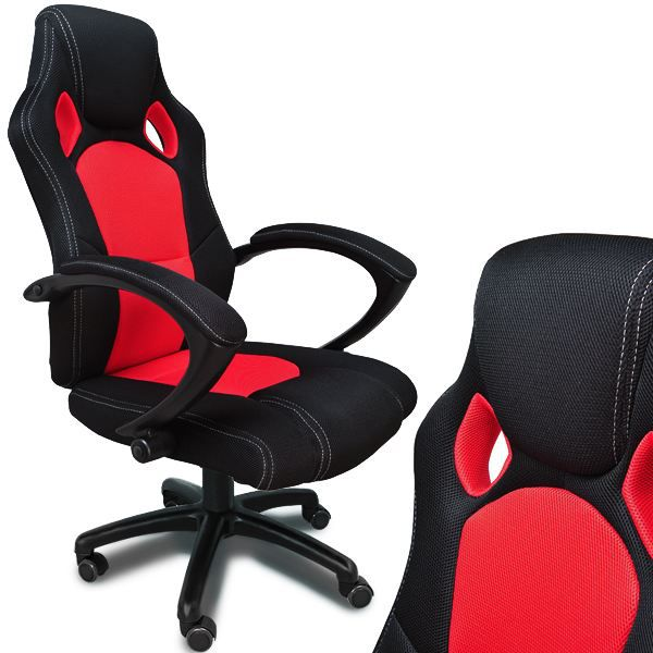 fauteuil de bureau rouge et noir en nylon sport achat vente chaise de bureau noir cdiscount. Black Bedroom Furniture Sets. Home Design Ideas