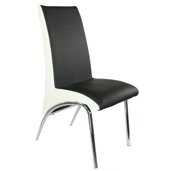 chaise de s jour design m tal noir et blanc achat vente chaise cdiscount. Black Bedroom Furniture Sets. Home Design Ideas