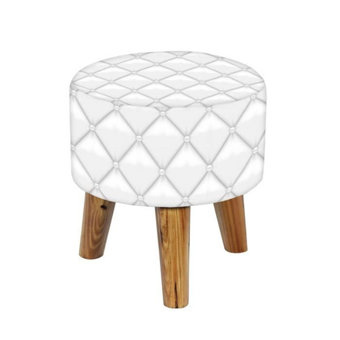 tabouret rond capitonn blanc achat vente tabouret. Black Bedroom Furniture Sets. Home Design Ideas