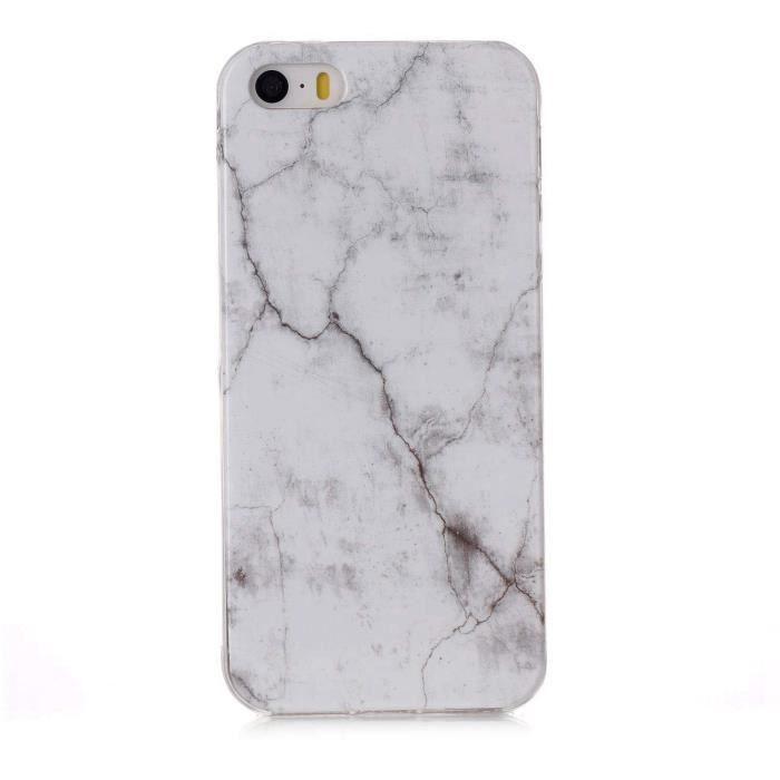 coque iphone 5s 5 se blanc marbre silicone en gel