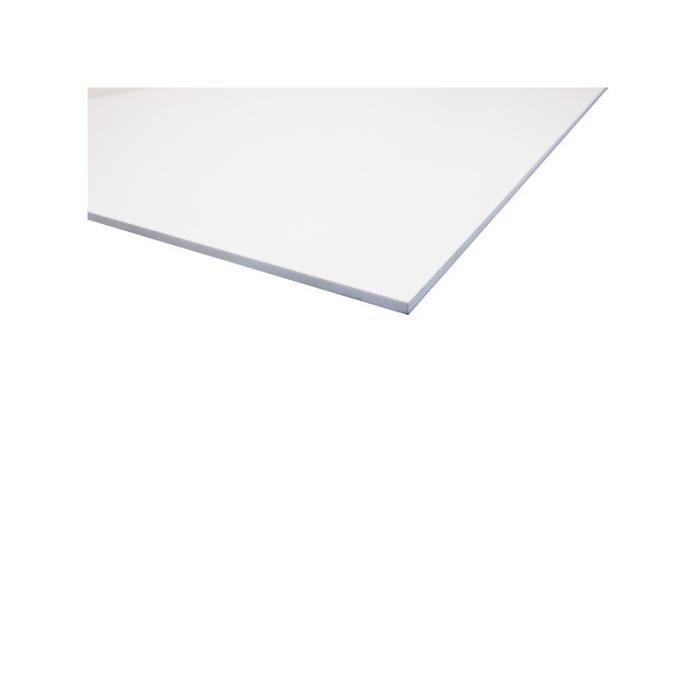 CARRELAGE - PAREMENT Plaque PVC expansé blanc - L: 200 cm - l: 100 cm -