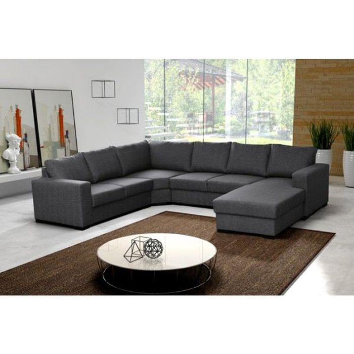 grand canap d 39 angle 6 places oara gris achat vente canap sofa divan cdiscount. Black Bedroom Furniture Sets. Home Design Ideas