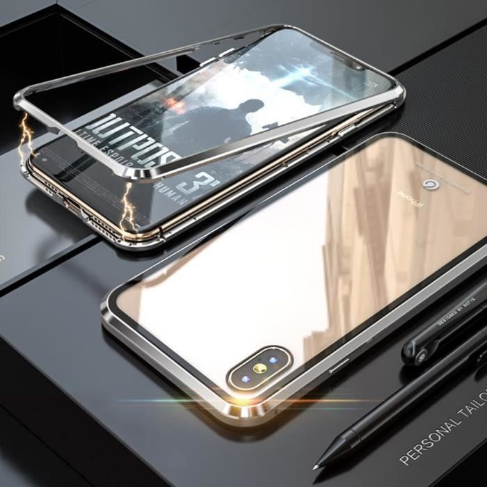 iphone xs max coque luxe magnetique metal antichoc