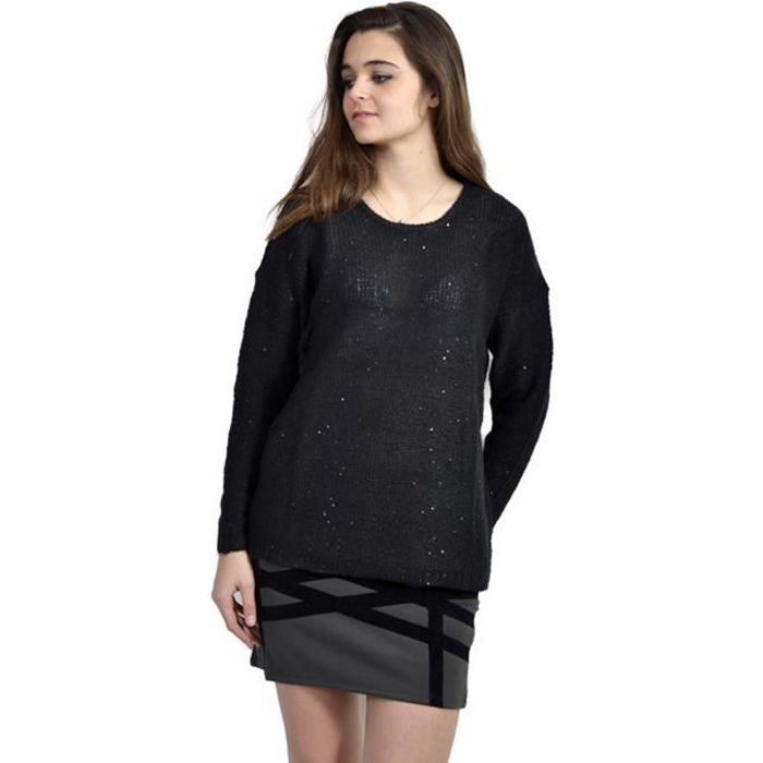 PULL Pull femme marque B.YOUNG col rond noir fin de col