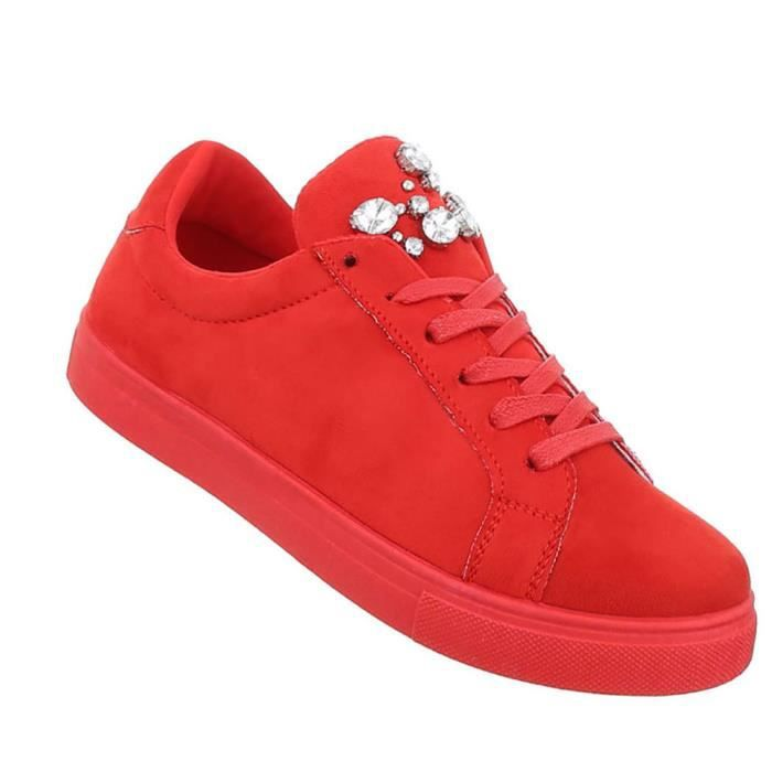 Chaussures femmes chaussures de loisirs Strass occupé Sneakers rouge 41