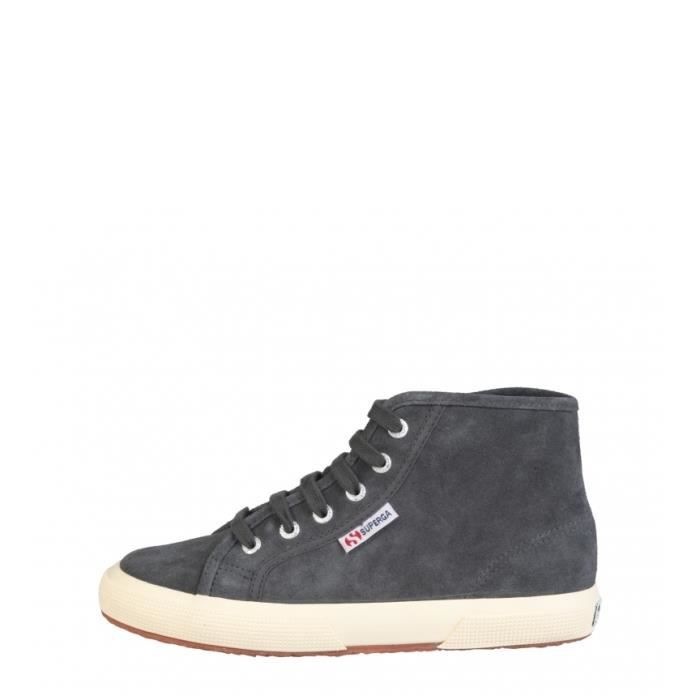 Superga - Chaussures en daim gris colorent pierre